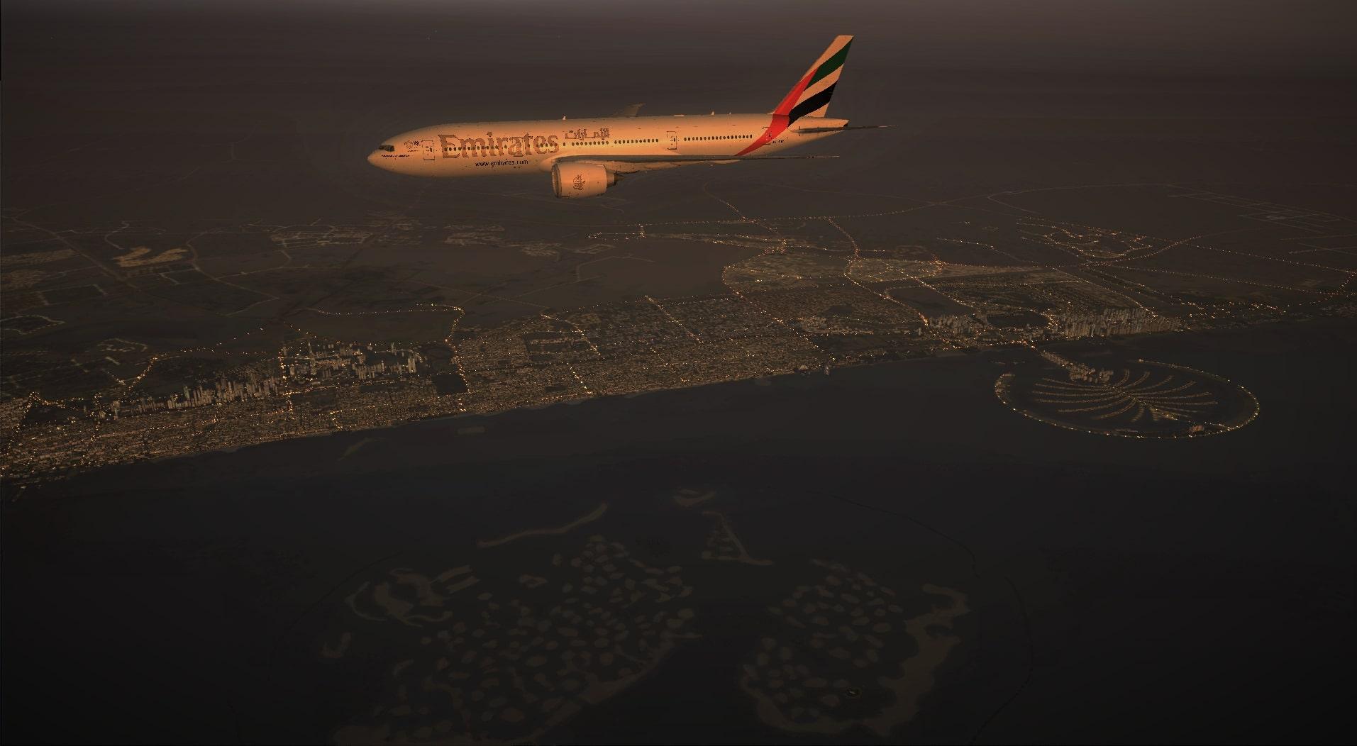 Emirates Boeing 777-200LR Cruising at Dusk